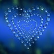Abstract heart water drops background — Stock Photo
