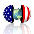 3d earth in hemispheres with us flag texture — Stock Photo #1882388