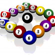 Fifteen pool billiard balls — Stock Photo #1882411