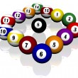 Stockfoto: Fifteen pool billiard balls