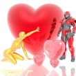 3d soldier and golden girl with a red 3d heart — Stock Photo #1882435