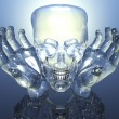 3D glass skull in glass hands — Foto Stock