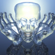 3D glass skull in glass hands — ストック写真
