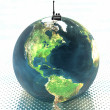 Stock Photo: Earth with radio set
