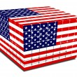 Cube with gaps us flag textured — Stock Photo