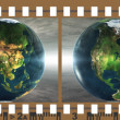 Stock Photo: Film with 4 images of the earth