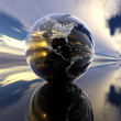 Earth model with reflection on the background — Stock Photo #1883332