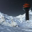 Us base on the moon with snow landscape — Stock Photo