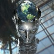 3D earth in 3D cyborg girl head — Stock Photo