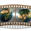 Stock Photo: Film with 4 images of the earth isolated