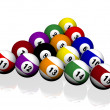 ストック写真: Fifteen pool billiard balls