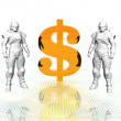 3d soldiers in a gas mask with golden us dollar — Stock Photo #1884086