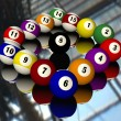Fifteen pool billiard balls — Stock Photo #1884252