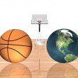Stock Photo: 3d basketball isolated on a white
