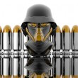 3d soldiers in a gas mask with bullets — Stock Photo #1884569
