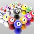 Stock Photo: Fifteen pool billiard balls