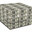 Cube with us dollar notes — Stock Photo