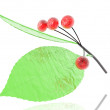 Stock Photo: 3D rubin bright glass cherry isolated on a white