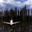 Stock Photo: Airliner with city