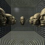Cyber men robots head in room — Stock Photo #1885682