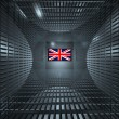 Flat lcd monitor with britain flag on screen — Stock Photo #1885832