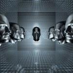 Cyber men robots head in room — Stock Photo #1885922