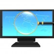 Magnifying glass on monitor isolated on white — Stock Photo #1885989