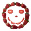 Fresh and tasty strawberry smile isolated on whi — Stock Photo