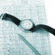 Closeup of a chart with pen on white — Stock Photo