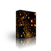 3d abstract golden lights box template — Stock Photo