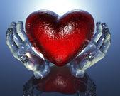 3d corazón en las manos de cristal — Foto de Stock
