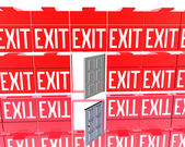 3D exit red signs isolated on a white — Stock Photo