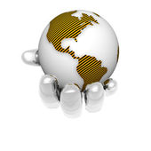 3D earth in bright hand isolated on a white — Stock Photo