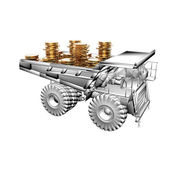 Truck with golden coins — Stock Photo