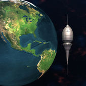 Satelite sputnik orbiting 3d earth — 图库照片