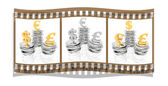 Film with coins isolated on a white — Stock Photo