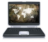 Retro model of the geographical world map on laptop screen — Stock Photo