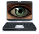 Girl eye on laptop screen isolated on a white — Stock Photo