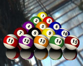Fifteen pool billiard balls — Stockfoto