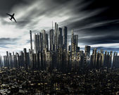 Cityscape with airliner silhouette — Stock Photo