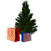 Bare Christmas tree ready to decorate with gifts — Stock Photo