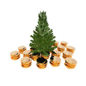 Bare Christmas tree ready to decorate with coins — Stock Photo