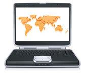 Modelo del mapa geográfico del mundo en la pantalla del ordenador portátil — Foto de Stock