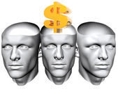 3D man heads with us dollar sign — Stock Photo