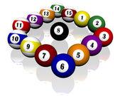 Patnáct fond kulečníkové koule — Stock fotografie