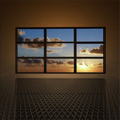 Video wall with clouds and sun on screens — Stock Photo