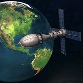 Satelitarna sputnika na orbicie ziemi w przestrzeni — Zdjęcie stockowe