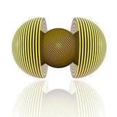 Piłka z żółte paski — Zdjęcie stockowe