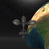 Um die erde kreisenden satelliten sputnik-erde — Stockfoto