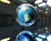 3d earth in defence — Stock Photo